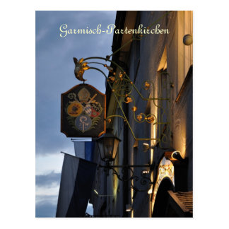Garmisch-Partenkirchen bij nachtbriefkaart Briefkaart