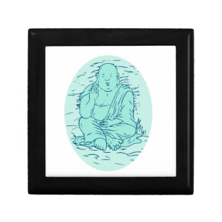 Gautama Buddha Lotus stelt Tekening Decoratiedoosje