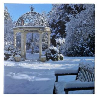 Gazebo in de Sneeuw Tegeltje Vierkant Large