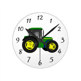 Geanimeerde Groene Tractor Ronde Klok
