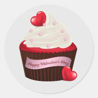 Geanimeerde Valentijnsdag Cupcake Ronde Sticker