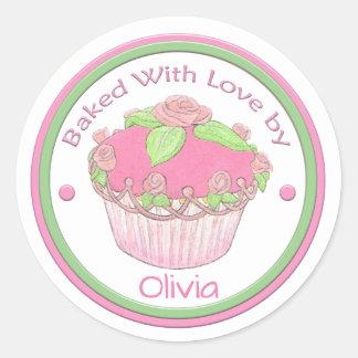 Gebakken met liefdeDouane Sticker~ROSE CUPCAKE Ronde Sticker