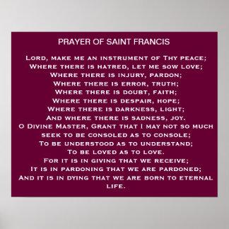 Gebed van Heilige Francis Poster