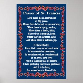Gebed van St Francis met de Grens van de Klok van Poster
