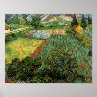 Gebied met Poppies Van Gogh Fine Art. Poster