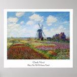 Gebieden van Tulp met de Rijnsburg Windmolen Monet Print