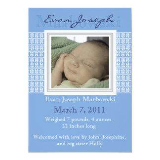 Geboorte A van de Foto van de Jongen van het Baby 12,7x17,8 Uitnodiging Kaart