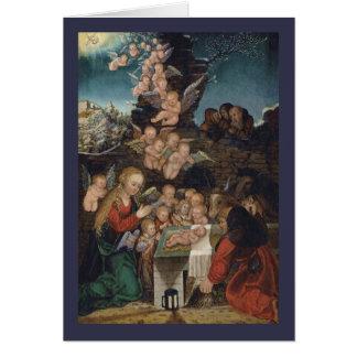 Geboorte van Christus die Cherubijnen kenmerkt Wenskaart