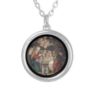 Geboorte van Christus die Cherubijnen kenmerkt Zilver Vergulden Ketting
