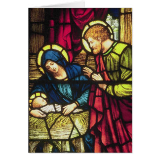 Geboorte van Christus in gebrandschilderd glas Kaart
