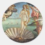 Geboorte van Venus door Botticelli, Renaissance Ronde Sticker
