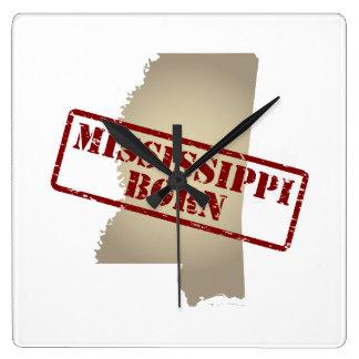 Geboren de Mississippi - Zegel op Kaart Vierkante Klok