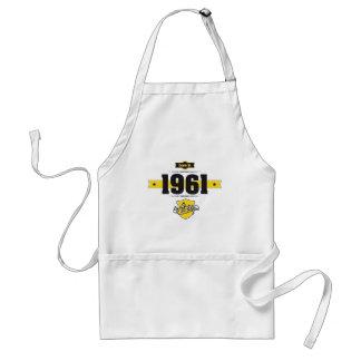 geboren in 1961 (choco&yellow) standaard schort