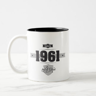 Geboren in 1961 (Dark&Lightgrey) Tweekleurige Koffiemok