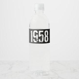 Geboren in de 60ste Verjaardag van het Jaar 1958 Waterfles Etiket