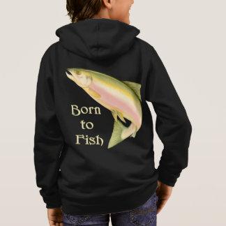Geboren te vissen hoodie