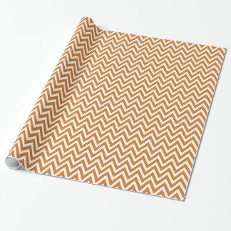 Gebrande Oranje en Witte Chevron Inpakpapier