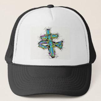 Gebrandschilderd glas grafisch van het Kruis en de Trucker Pet