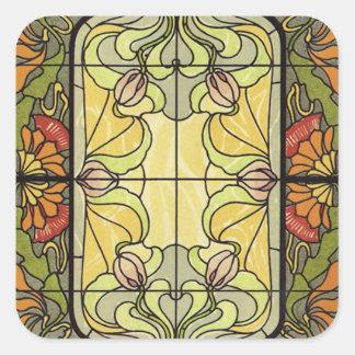 Gebrandschilderd glas in Mos en Sinaasappel Vierkante Sticker