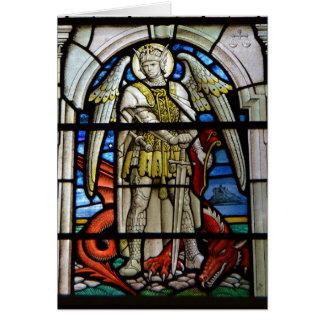 Gebrandschilderd glas St Michael Helston Cornwall Kaart