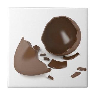 Gebroken chocoladeei tegeltje