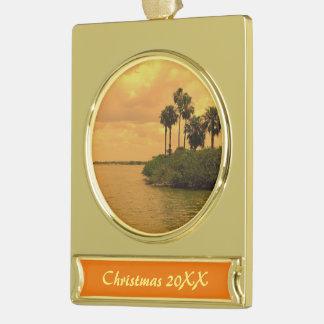 Gedateerde de Mijmerij van de palm Verguld Banner Ornament