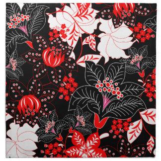 Gedetailleerde rode tropische bloemen katoenen servet