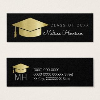 gediplomeerde naamkaart, elegante zwarte klasse mini visitekaartjes
