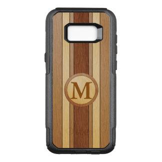 GEDRUKT faux hout met monogram OtterBox Commuter Samsung Galaxy S8+ Hoesje