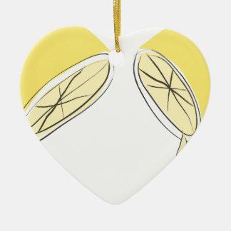 Gedrukte citroen keramisch hart ornament