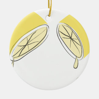 Gedrukte citroen rond keramisch ornament