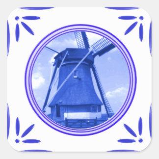 Gedrukte de Delft-blauw-tegel-Blik van de Vierkante Sticker
