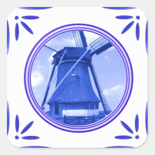 Gedrukte de Delft-blauw-tegel-Blik van de Windmole Vierkant Stickers