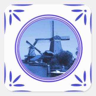 Gedrukte de Delft-blauw-tegel-Blik van de Windmole Vierkant Sticker