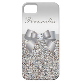 Gedrukte Zilveren Lovertjes, Boog & Diamant Barely There iPhone 5 Hoesje
