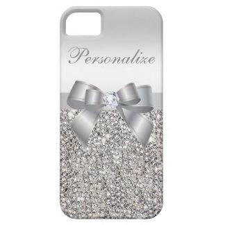 Gedrukte Zilveren Lovertjes, Boog & Diamant Case-Mate iPhone 5 Hoesje