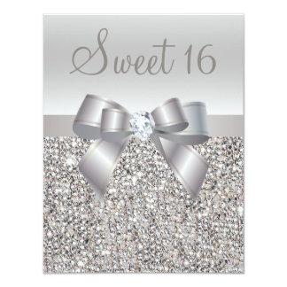 Gedrukte Zilveren Lovertjes, Snoepje 16 van de 10,8x13,9 Uitnodiging Kaart