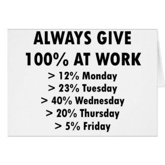Geef altijd 100% op het werk kaart