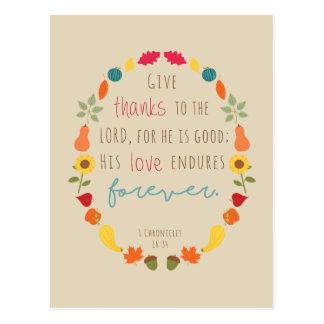 Geef bedankt aan Lord, het Briefkaart van het Vers