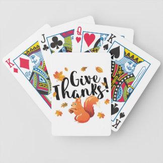 Geef de Eekhoorn van de Herfst van het Bedankt Bicycle Speelkaarten