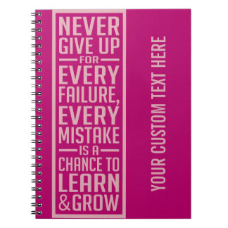 Geef nooit motivatie notitieboekje op notitieboek