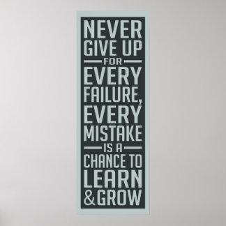 GEEF NOOIT motivatie poster op