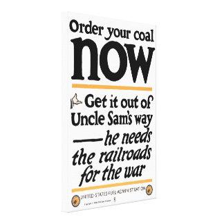 Geef opdracht tot uw steenkool nu 1917 canvas afdruk