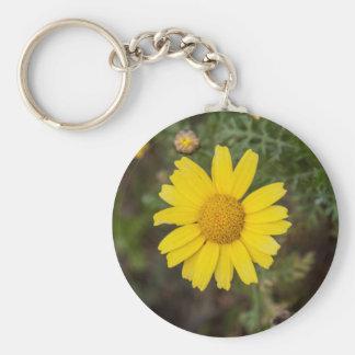 Geel de bloemCu van Daisy Basic Ronde Button Sleutelhanger