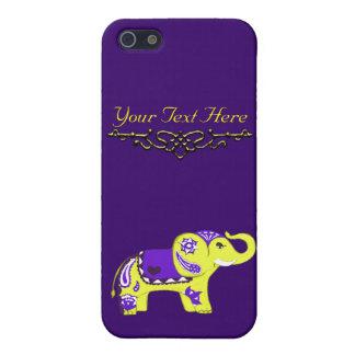 (Geel/de Paarse) Olifant van de henna iPhone 5 Hoesje