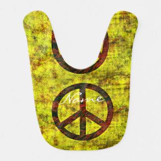 geel de vredessymbool van hippie hip jaren '70 baby slabbetje