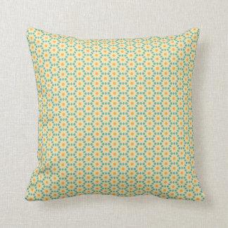 Geel en blauwgroen geometrisch hoofdkussen sierkussen