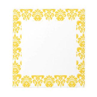Geel en Wit Vintage Patroon 2 van het Damast Kladblokken