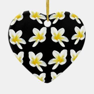 Geel en Zwart Patroon Frangipani, Keramisch Hart Ornament