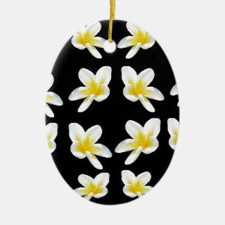 Geel en Zwart Patroon Frangipani, Keramisch Ovaal Ornament